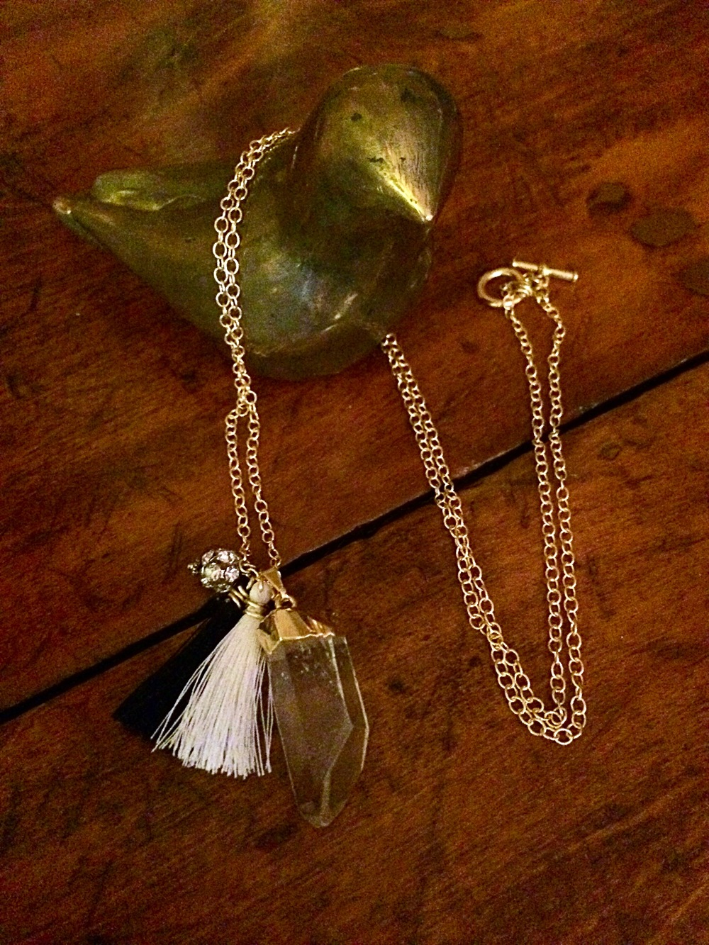 My very own tassel and gemstone necklace! Simple and pretty!