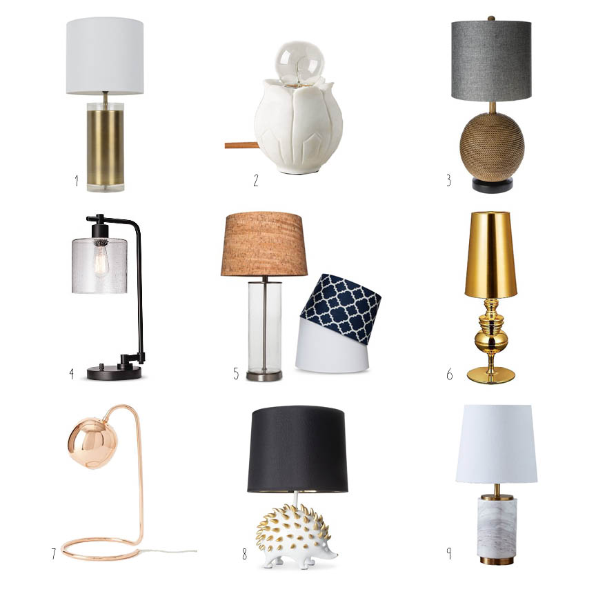 1. Gold Base Lamp; 2. Flower Bud Lamp; 3. Mud Hut Lamp; 4. Industrial Seeded Lamp; 5. Glass Cylinder Lamp; 6. Gold Tiffany Lamp; 7. Rose Gold Scoop Lamp; 8. Hedgehog Lamp; 9. Marble Base Lamp
