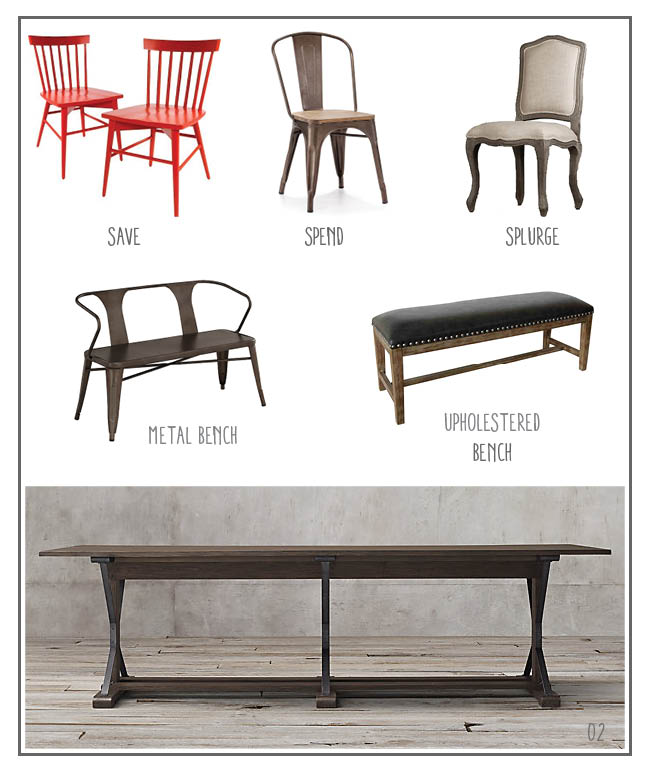 SAVE: Red Windsor;  SPEND: Tabouret Chair;  SPLURGE: French Camelback; METAL BENCH: Tabouret Bench; UPHOLSTERED BENCH: Leno Leather; TABLE: Industrial Trestle