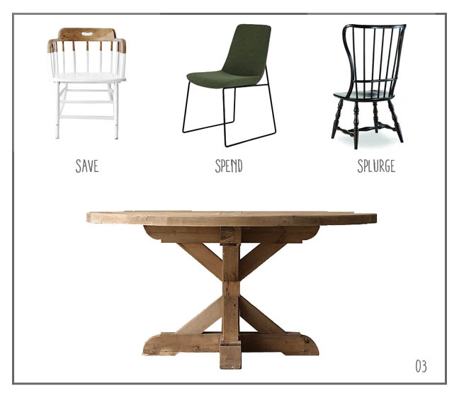 SAVE: Dipped Chair; SPEND: Ruth Chair SPLURGE: Spindle Back; TABLE: Salvaged X-Base