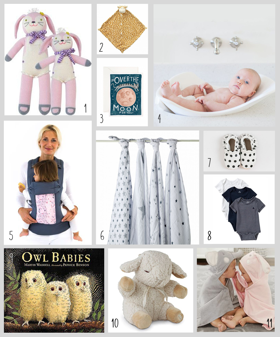 1. Knitted Dolls from BlaBla; 2. Giraffe Blankie; 3. Over the Moon Notecard; 4. Puj Tub; 5. Beco Baby Carrier; 6. Swaddle Blanket; 7. Polka Dot Moccasins; 8. Striped Onesies; 9. Owl Babies Book; 10. Cloud B Sound Machine; 11. Critter Bath Wraps