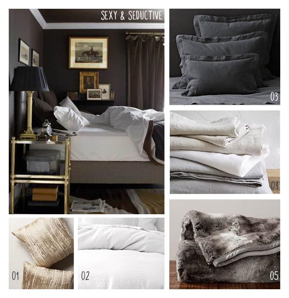 1. Metallic decorative pillows, 2. White linen duvet, 3. Dark linen shams, 4. White linen sheets, 5. Faux fur throw