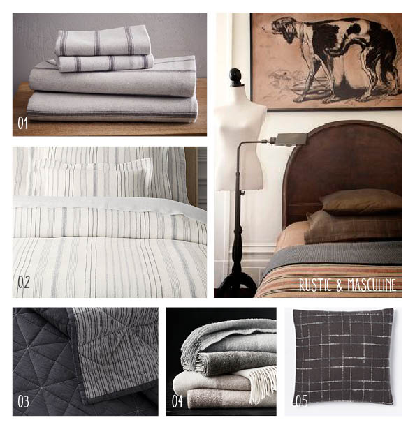 1. Wide striped sheets, 2. Linen multi-striped duvet & shams, 3. Dark charcoal coverlet, 4.Oversized plaid throw, 5. Metallic, checkered throw pillows