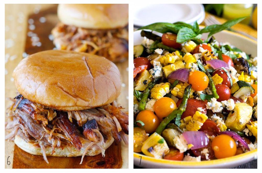 6. Pulled BBQ Sandwich; 7. Grilled Summer Veggie Salad