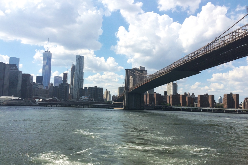 The Brooklyn Bridge and downtown Manhattan. View via ferry boat!