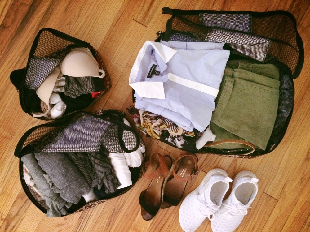 16 plus days worth of outfits in 3 packing cubes!
