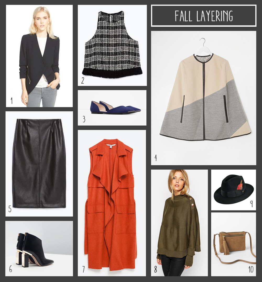 1. Slouchy blazer from Nordstrom; 2. Boucle crop top from Zara; 3. D'orsay flats with metal detail from Zara; 4. Cape with leather trim from ASOS; 5. Leather skirt from Zara; 6. Metal & leather heeled boots from Zara; 7. Wool waistcoat from Zara; 8. Cape sweater from ASOS; 9. Wool felt fedora from Nordstrom; 10. Suede crossbody from Gap