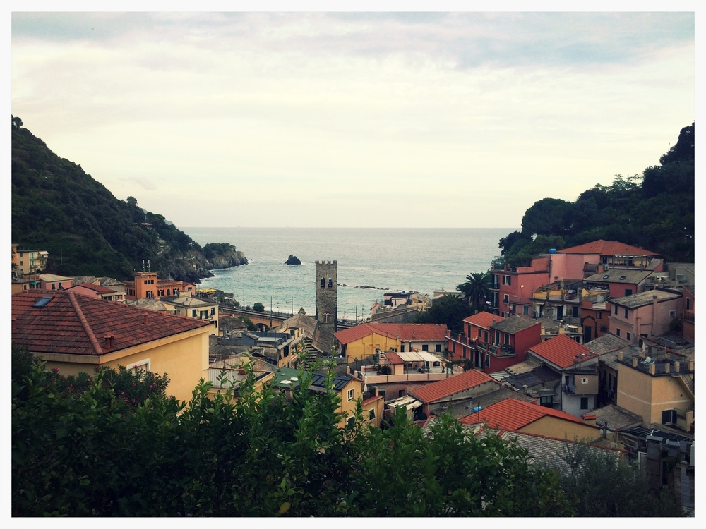 The view from our hotel terrace in Monterosso in the Cinque Terre.