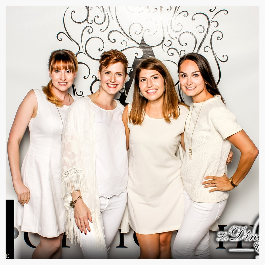 All four ladies dressed in white!