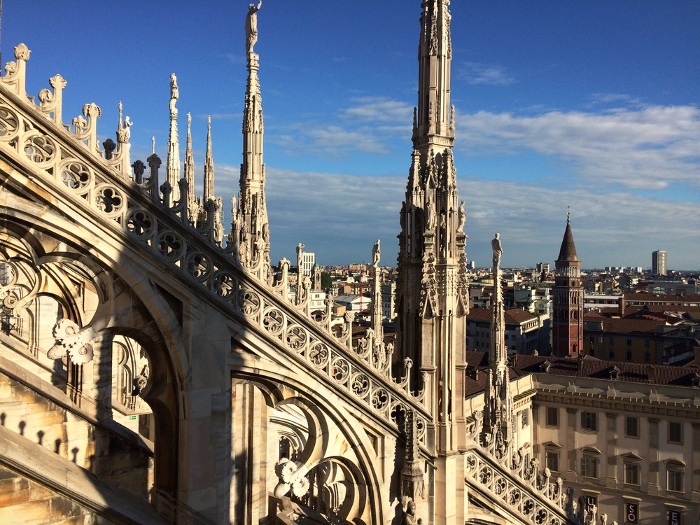 The view from the top of the Duomo Cathedral in Milan. Worth all the steps it takes to get up there (or splurge and take the elevator.)