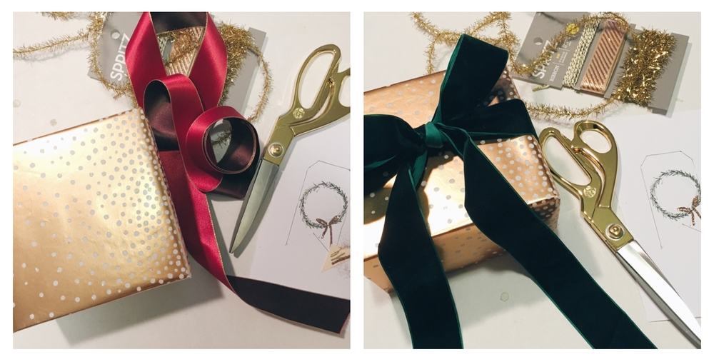 I thought I was going to go with the red/burgundy ribbon on the left, but when I tied it around the package it just wasn't right, so I readjusted and went with one of my favorites - a beautiful, rich green velvet!