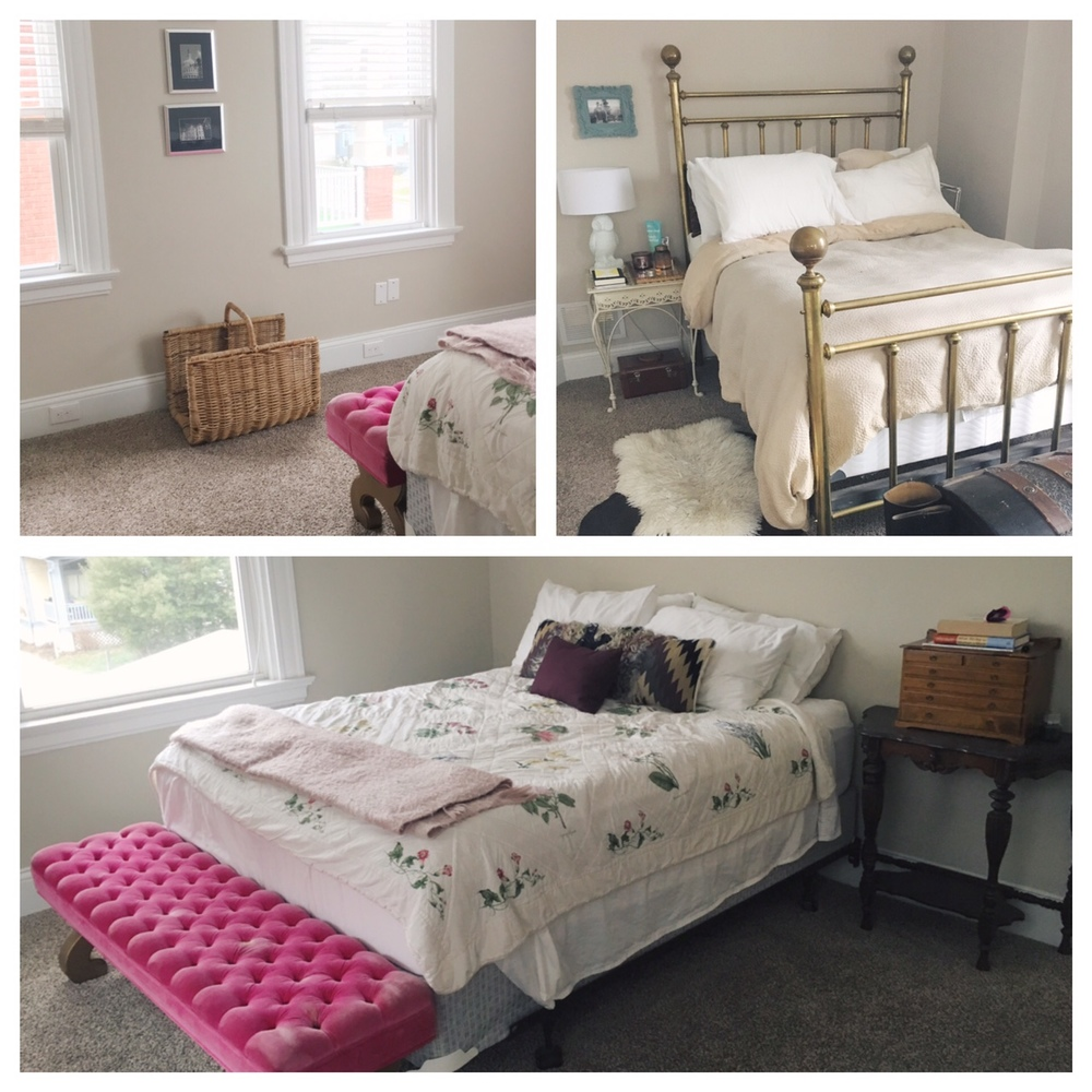 A few snap shots of what the current guest room looks like. All the essentials, but needs a little love for sure. The brass bed above was in the master bedroom, and has officially been moved to the guest room and is ready for a polish!