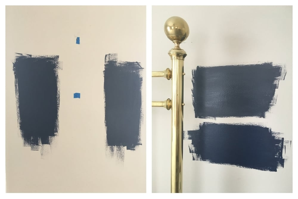 The beautiful navy's for the guest room... which to choose!?! Benjamin Moore Hale Navy on the right & Sherwin Williams Naval on the left.