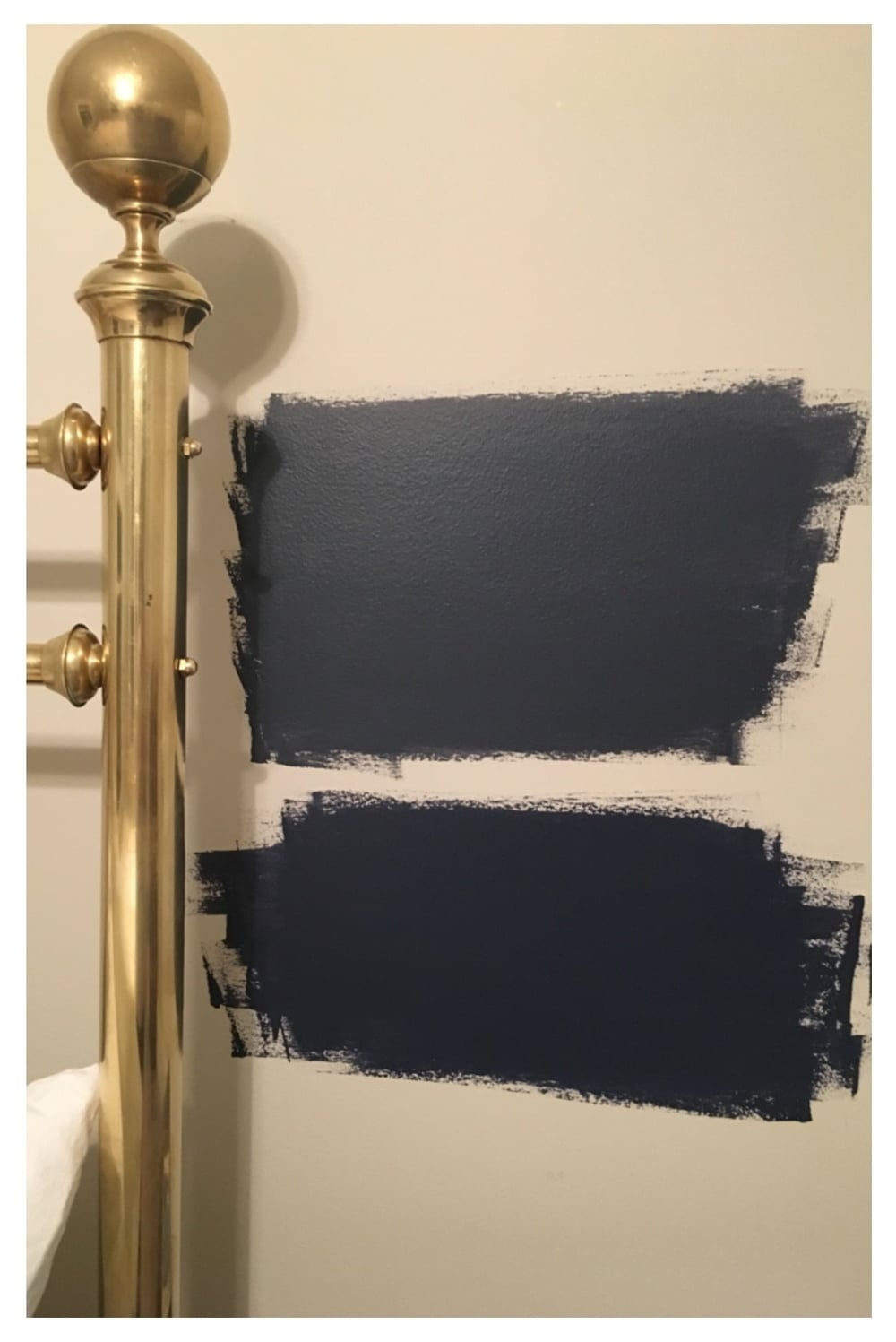 Really love the blue with the brass bed, but debating if it is going to be too dark. We do get a ton of light and you could sleep in forever!