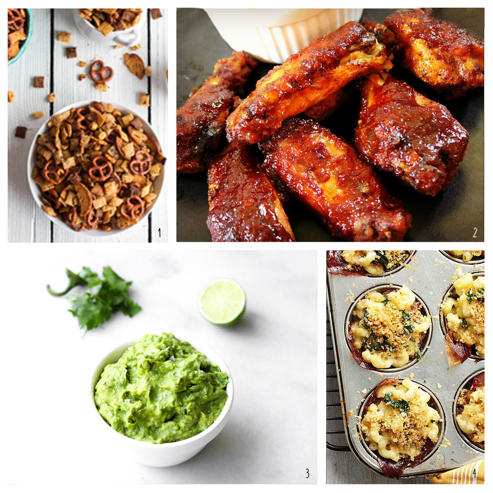 1. Chex Mix; 2. BBQ Wings; 3. Guacamole & Salsa; 4. Mac & Cheese Muffins