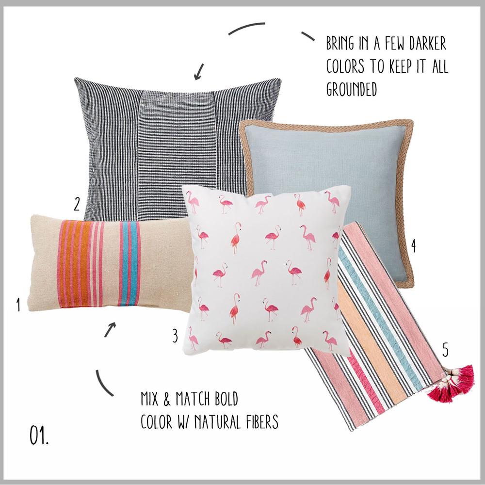 1. Stripes, 2. Dark Solid, 3. Flamingos, 4. Soft & Light, 5. Striped Blanket
