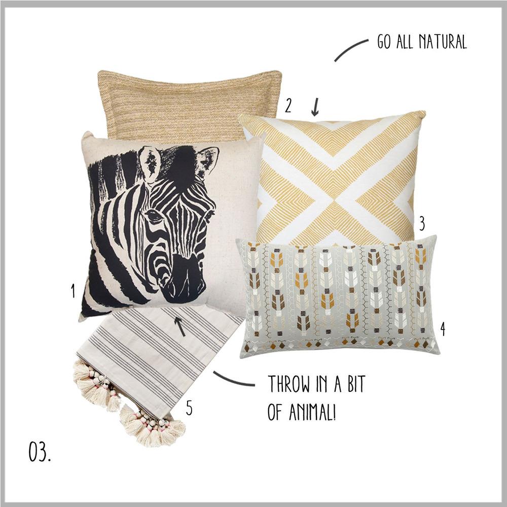1. Zebra, 2. All Natural, 3. Diamonds, 4. Tribal Pattern, 5. Striped Tassels