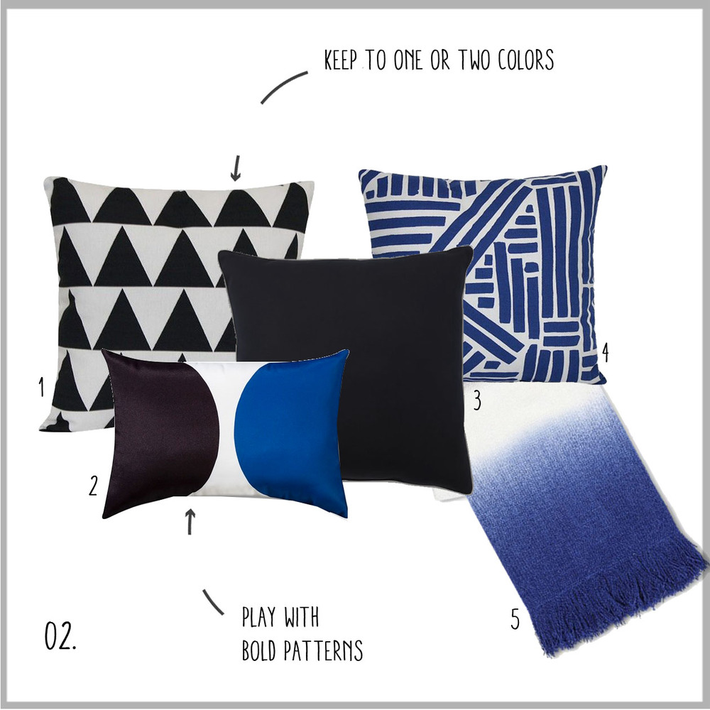 1. Triangles, 2. Bold, 3. Solid Black, 4. Blue Print, 5. Ombre Throw