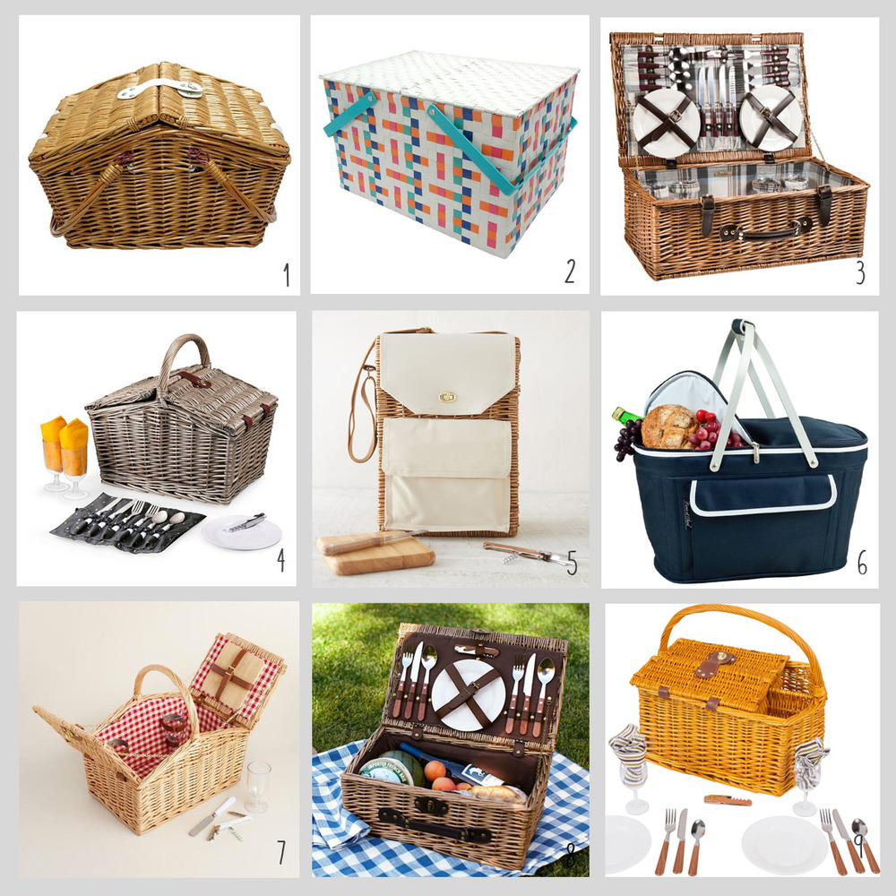 1. Rattan Basket; 2. Colorful Basket; 3. Plaid Basket; 4. Summer Basket; 5. Wine & Cheese Basket; 6. Collapsable Basket; 7. Traditional Basket; 8. Basket for Two; 9. Wineholder Basket