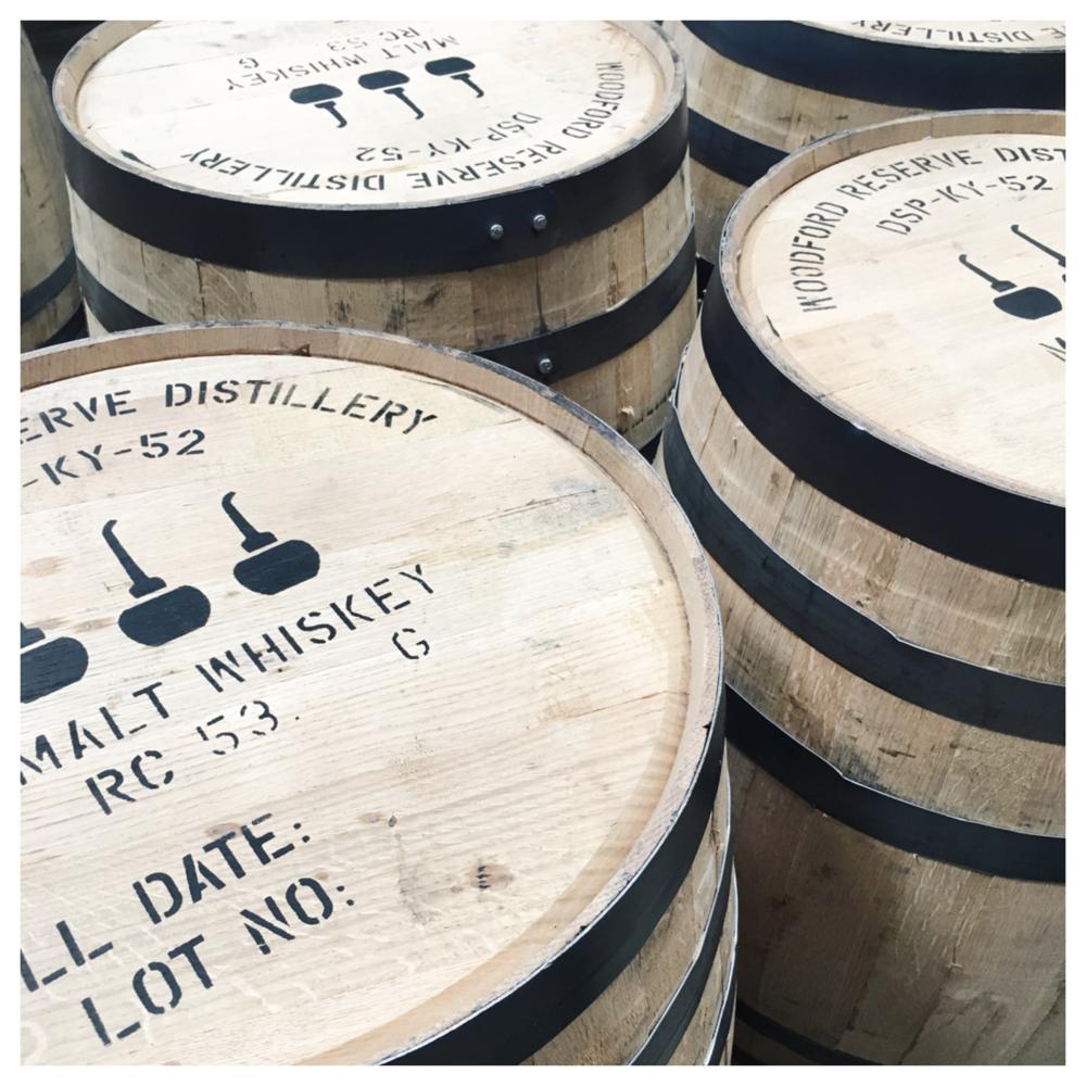 Barrels full of Woodford Reserve Bourbon.