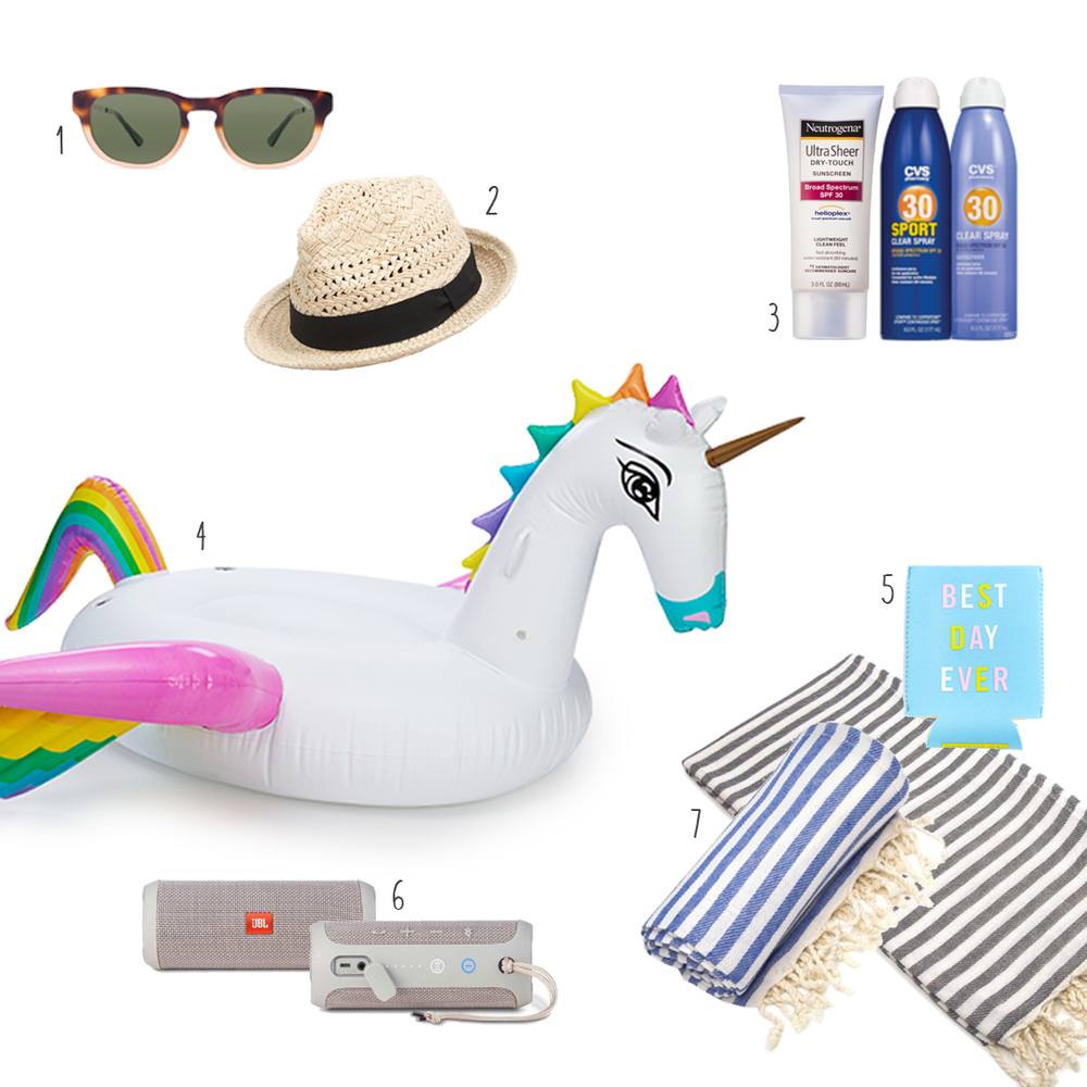 1. Playful Sunnies, 2. Open-Weave Fedora, 3. Sunscreen, 4. Rainbow Unicorn Float, 5. Playful Coozie, 6. Mobile Speaker, 7. Turkish Beach Towels