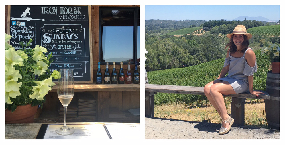 Iron Horse Winery - the view & a few of the bottles we tried!