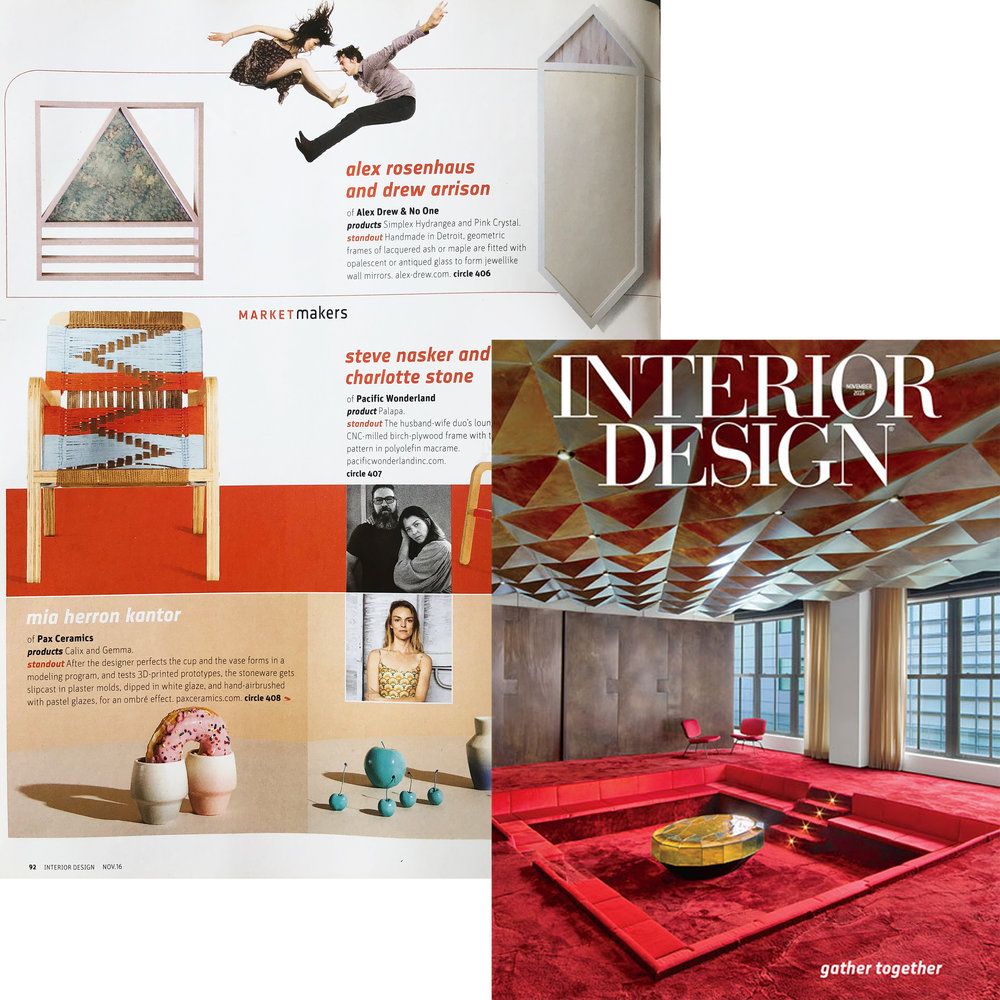 12 MAKERS TO KNOW ARTICLE IN THE FEBRUARY 2017 ISSUE OF INTERIOR DESIGN  MAGAZINE.
