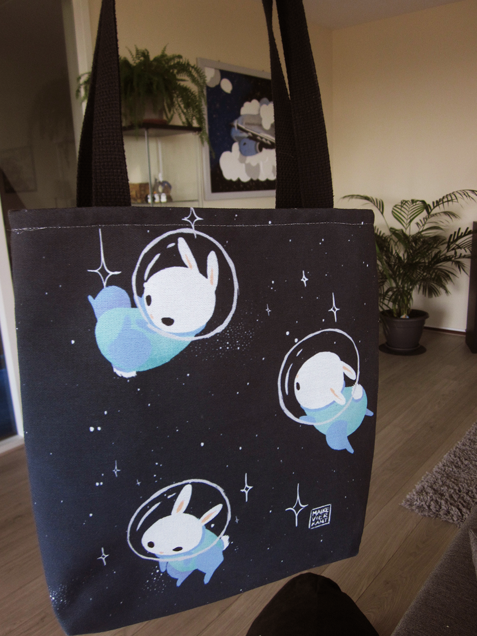 "13"" x 13"" tote bag as available on   Society6"