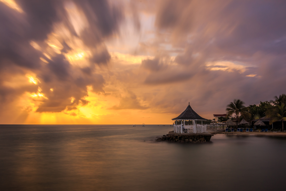 Moving clouds at Royal Decameron Hotel in Runaway Bay, St Ann, Jamaica.
