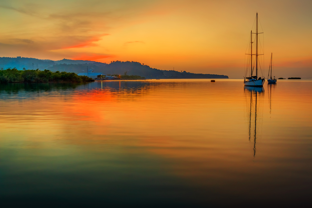 A beautiful evening at Errol Flynn Marina, Port Antonio, Portland, Jamaica.