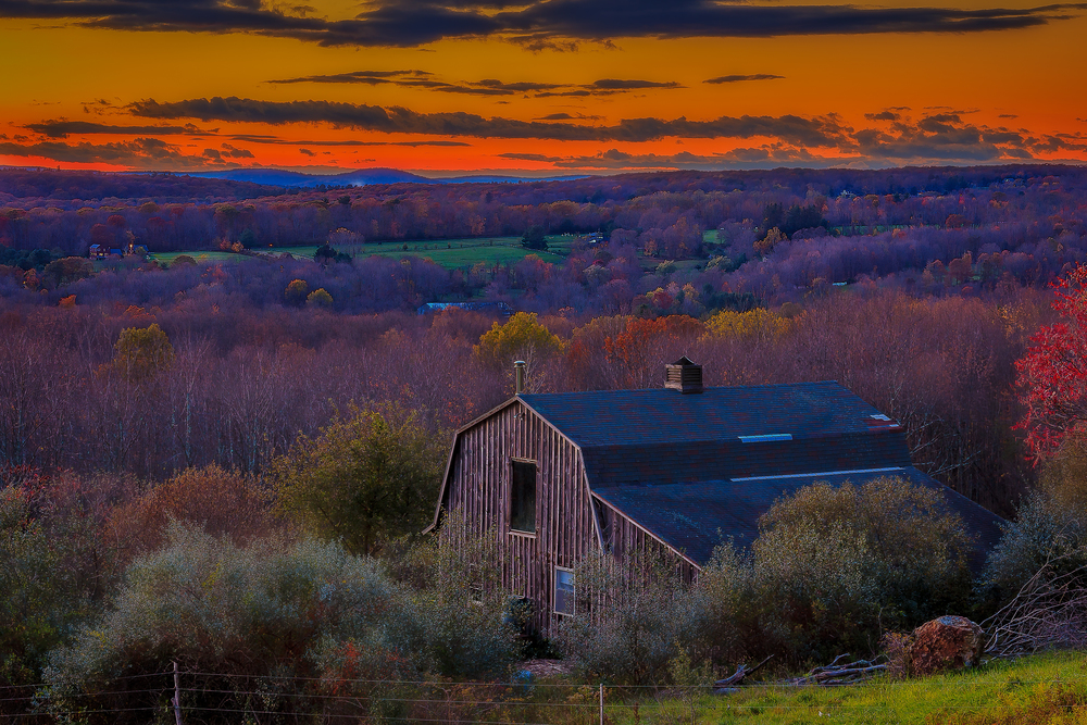 Autumn evening in Litchfield, Connecticut, USA.