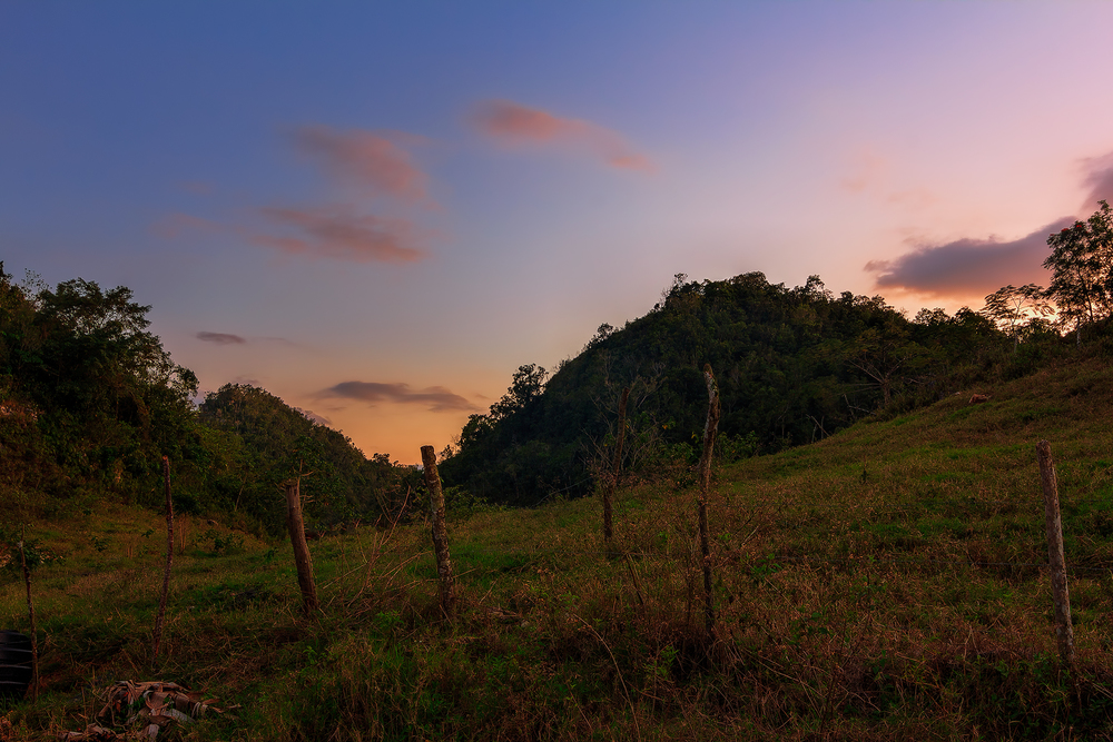 Sunset in the hills of Linton Park, St Ann, Jamaica.