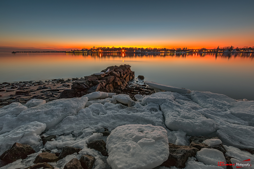 Ice/Snow on a cold Winter's evening at Seaside Park in Bridgeport, Connecticut, USA.