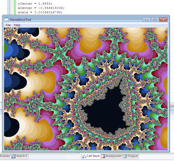 Mandelbrot Set Zoomed (C++ test application)
