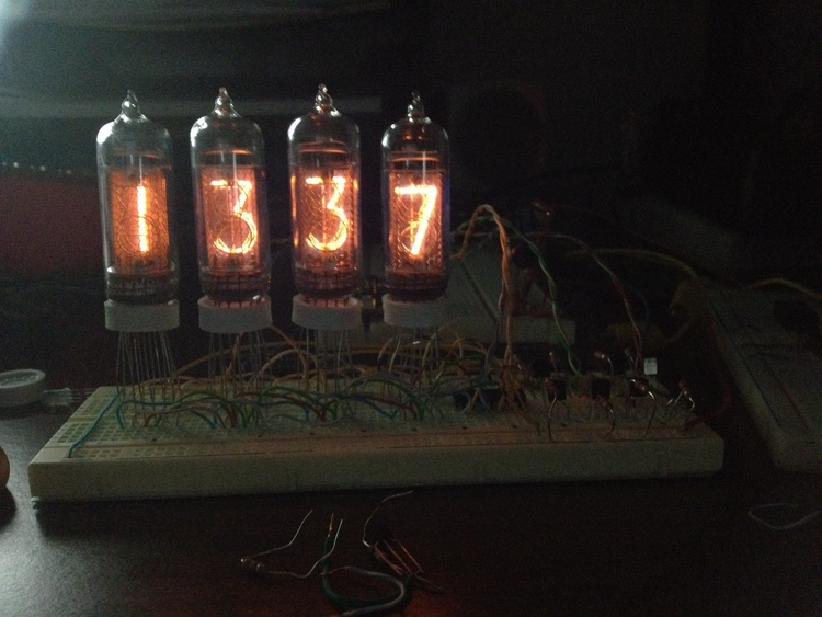 Testing all four IN-14 tubes on a breadboard!