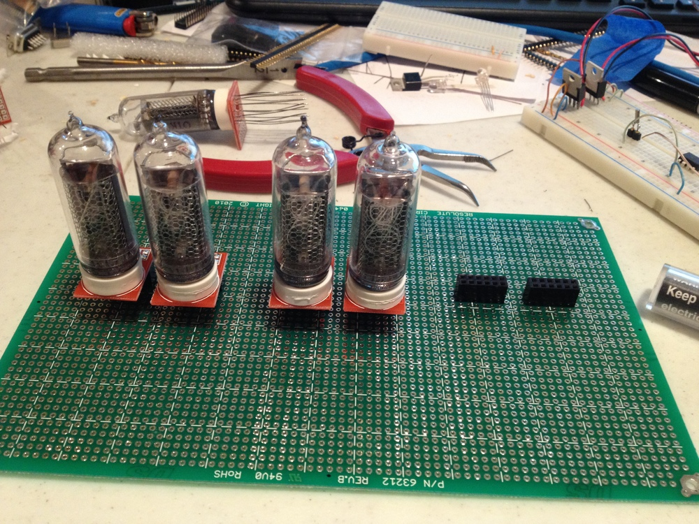Nixie tubes mounted on a protoboard