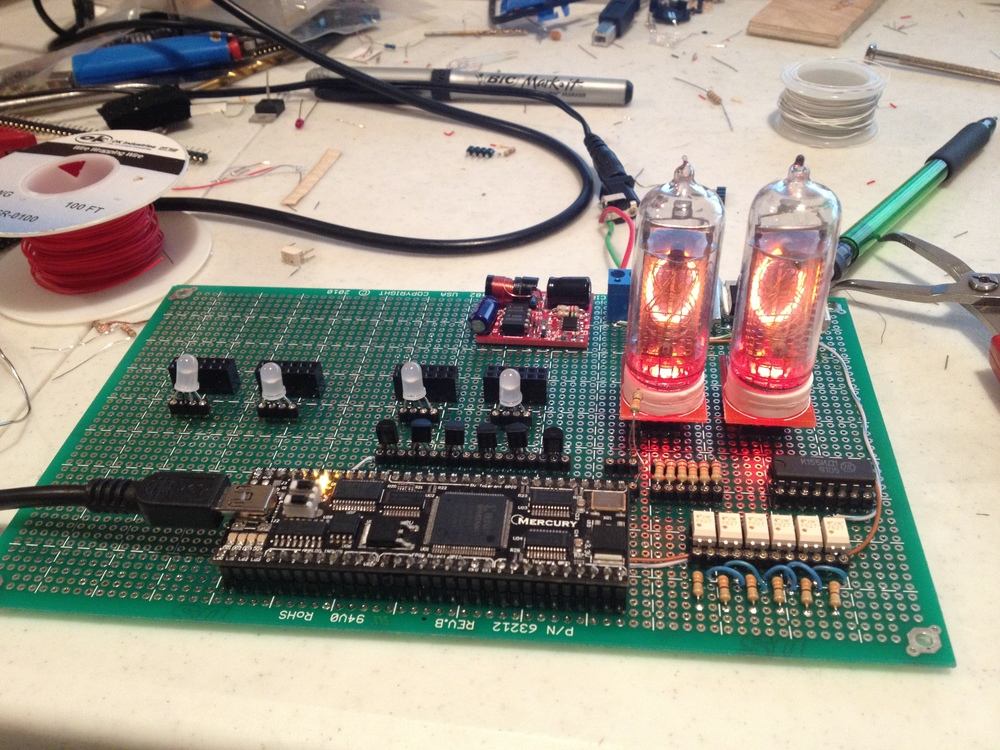 Testing with two Nixie tubes & LEDs.