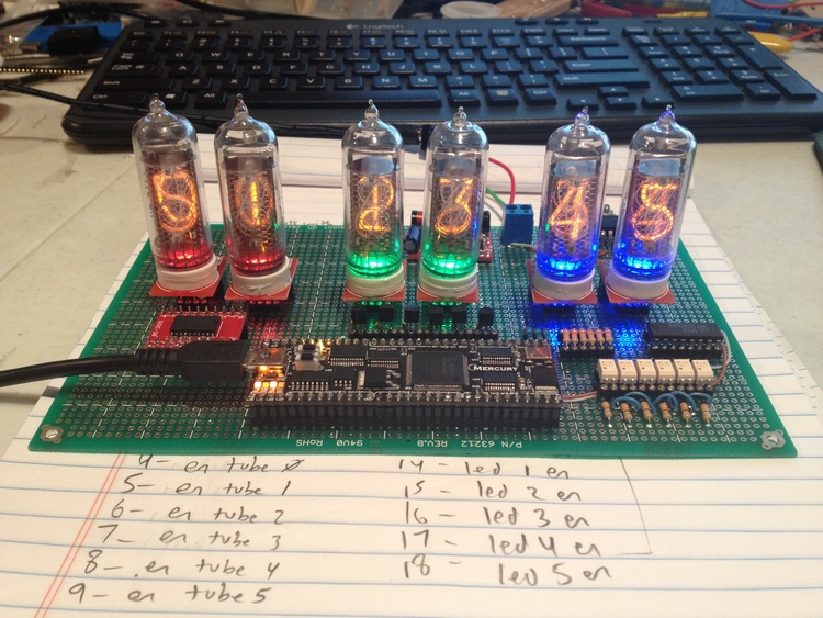 Ghosting of the previous digit! This problem was eliminated by added dead-time to the Nixie tube multiplexing circuit.