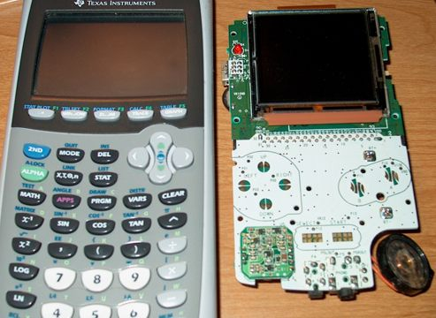 Size comparison of my TI-84 next to the GBC innards. I did not use the TI-84, but rather a broken TI-83 I got from a friend.