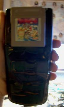 Back of the case, revealing the game cartridge. The plastic back panel conceals this mess.