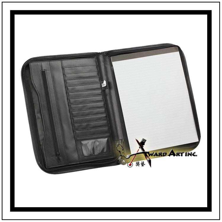 Black leather imprinted logo portfolio w business card holder item nc org7103g nc org7103 insideg colourmoves