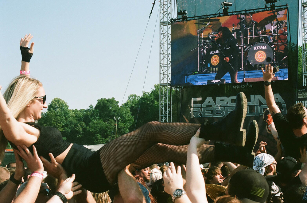 Crowd surfing during Anthrax.