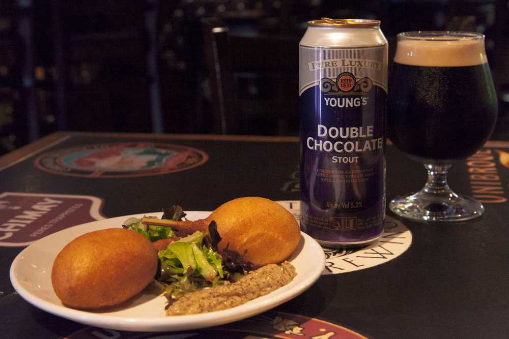 Real A Gastropub Duck Confit Corndog and Stout