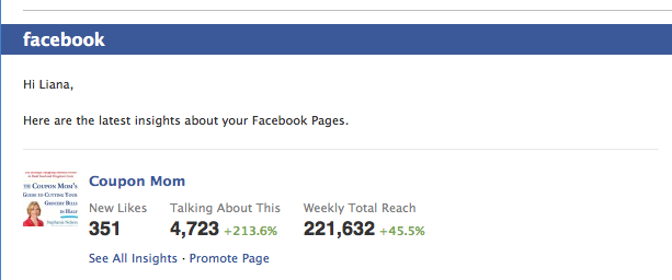 I am currently employed as the social media manager for  CouponMom.com . During my first weeks on the job, numbers skyrocketed on the  Facebook page . The page has seen 13,000 new likes in the past 5 months.    Pictured above is a screen shot of the page's Facebook insights after a various week in November.