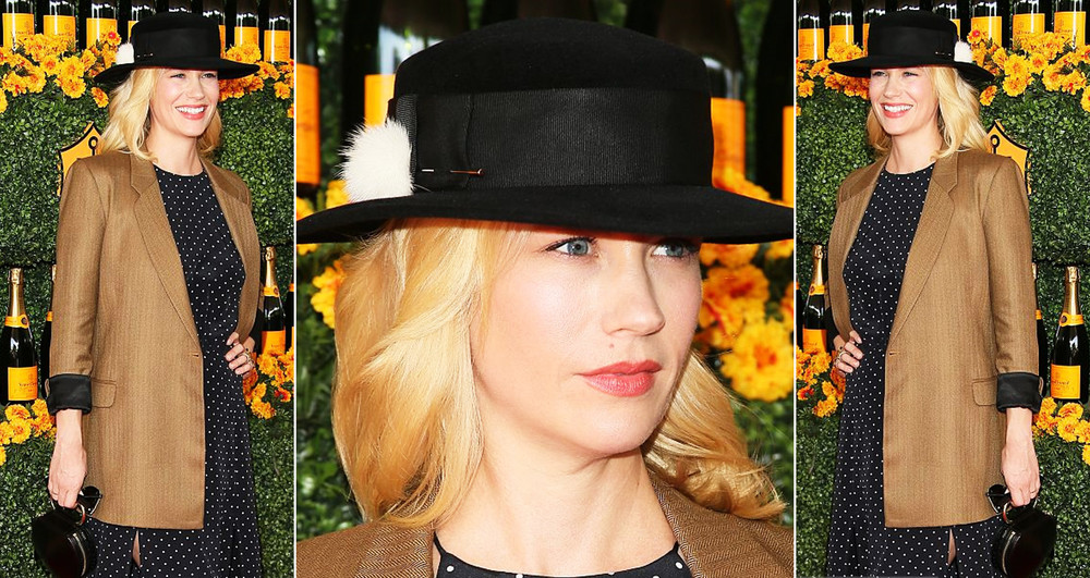 January Jones white polka dot fedora