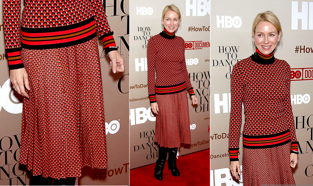 Naomi Watts red carpet michael kors print