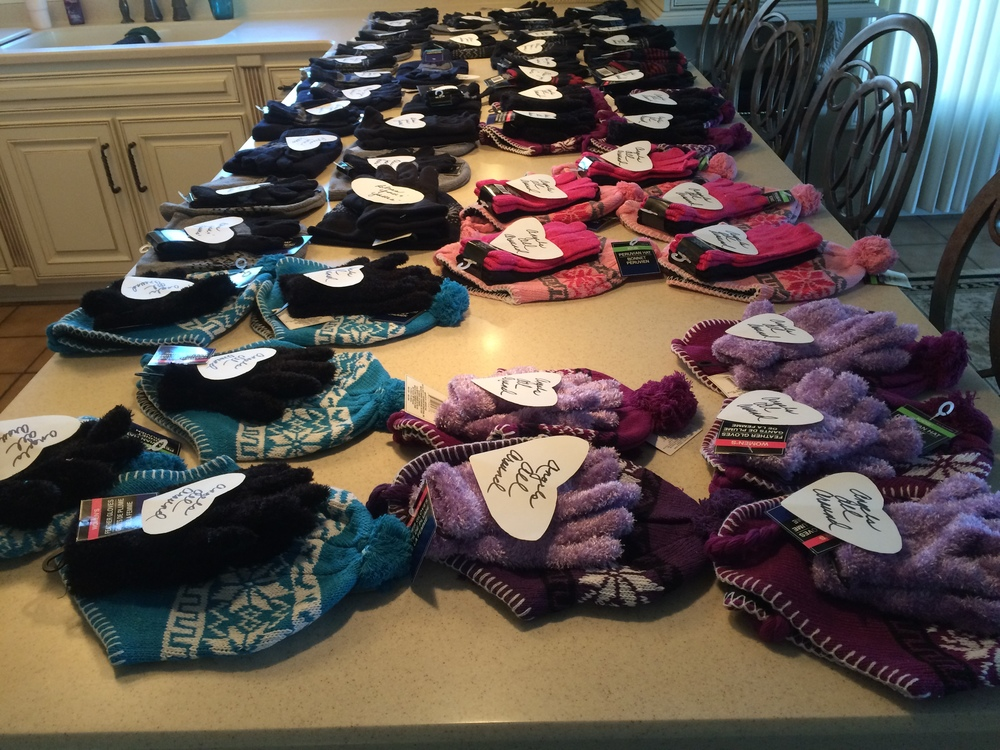 2015 - Making bags for the homeless, filled with socks, hats, gloves and random acts of kindness.