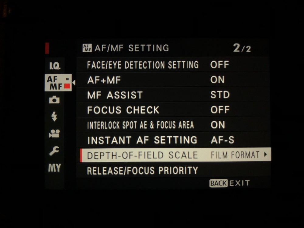 Set DoF Scale - AF/MF Setting menu>Depth-Of-Field Scale>Film Format Basis
