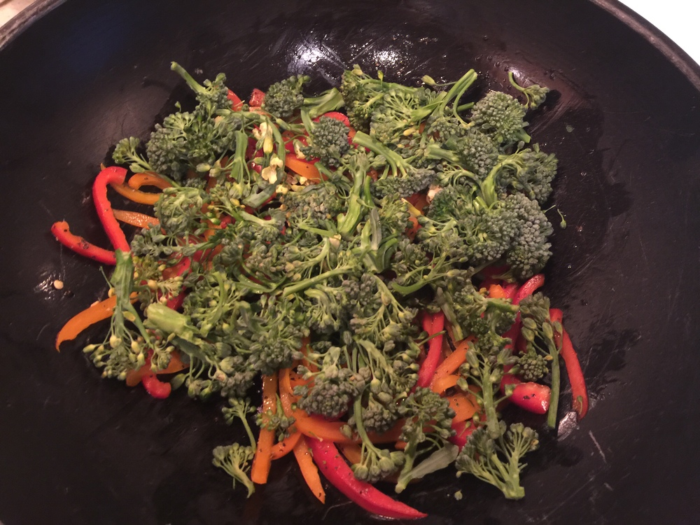 Cook the veggies in medium heated wok, to move it around faster.