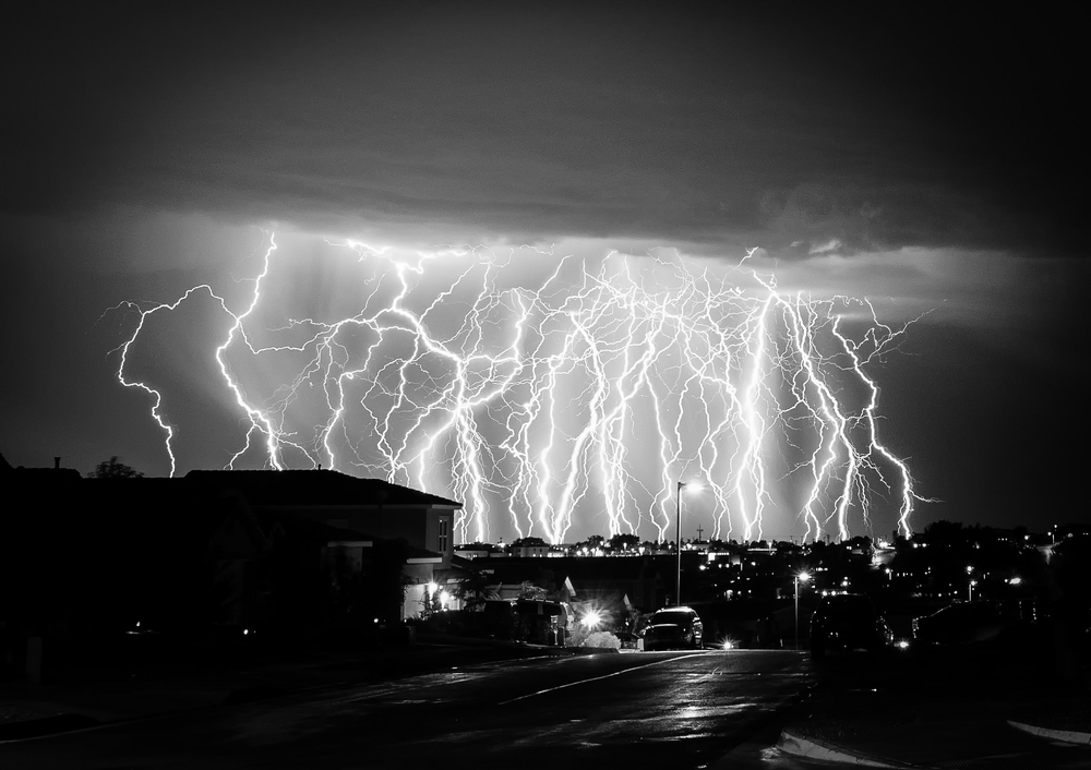 Lightning over Rio Rancho. Composite exposure by Bryan Sanchez.